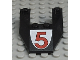 Part No: 6153apb02  Name: Wedge 6 x 4 Cutout without Stud Notches with Red Number 5 Pattern