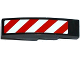 Part No: 61678pb082R  Name: Slope, Curved 4 x 1 No Studs with Red and White Danger Stripes Thin Pattern (White Corners) Model Right Side (Sticker) - Set 60075