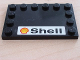 Part No: 6180pb003  Name: Tile, Modified 4 x 6 with Studs on Edges with Shell Logo & Text Pattern (Sticker) - Set 2556