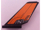 Part No: 6239pb002  Name: Tail Shuttle with 'HOT SURFACE' and Mechanical Rods on Orange Background Pattern on Both Sides (Stickers) - Set 8634