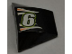Part No: 64225pb004  Name: Wedge 4 x 3 No Studs with White Number 6 and White and Orange Flames on Black Background Pattern (Sticker) - Set 8125