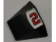 Part No: 64225pb005  Name: Wedge 4 x 3 No Studs with Red Number 2 and Silver Line on Black and White Background Pattern (Sticker) - Set 8125