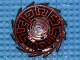 Part No: 64271pb01  Name: Bionicle Weapon Saw Blade Shield with Dark Red Geometric Pattern