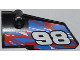 Part No: 64683pb004  Name: Technic, Panel Fairing # 3 Small Smooth Long, Side A with '98' and Red and White Swirls on Blue Pattern (Sticker) - Set 42010