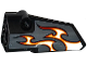 Part No: 64683pb024  Name: Technic, Panel Fairing # 3 Small Smooth Long, Side A with Red, Orange and White Flames on Dark Bluish Gray Background Pattern (Sticker) - Set 42046