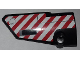 Part No: 64683pb037  Name: Technic, Panel Fairing # 3 Small Smooth Long, Side A with Red and White Danger Stripes Pattern (Sticker) - Set 9395