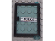 Part No: 73435c02pb01  Name: Door 1 x 4 x 5 Right with Trans-Light Blue Glass and 'POLICE' Red Line Pattern (Sticker) - Set 6598