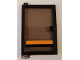 Part No: 73436c03pb03  Name: Door 1 x 4 x 5 Left with Trans-Black Glass and Black and Orange Stripe Pattern (Sticker) - Set 8135