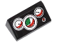 Part No: 85984pb041  Name: Slope 30 1 x 2 x 2/3 with 3 White, Red and Green Gauges and Red Button Pattern (Sticker) - Set 60053