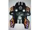 Part No: 87820pb02  Name: Hero Factory Shield, Type 1 with Rotor and Blue and White Danger Stripes on Orange Background Pattern (Stickers) - Set 7162