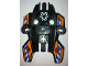 Part No: 87820pb03  Name: Hero Factory Shield, Type 1 with Rotor Inverted and Blue and White Danger Stripes on Orange Background Pattern (Stickers) - Set 7162