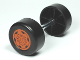 Part No: 88762c01pb04  Name: Duplo Wheel Double Assembly with Metal Axle and Dark Orange Sport Pattern