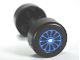 Part No: 88762c01pb11  Name: Duplo Wheel Double Assembly with Metal Axle and Blue Spokes Pattern