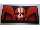 Part No: 88930pb002  Name: Slope, Curved 2 x 4 x 2/3 No Studs with Bottom Tubes with Backyard Blasters Red Skull Logo Pattern (Sticker) - Set 8898