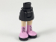 Part No: 92252c00pb023  Name: Mini Doll Friends Hips and Skirt, Light Flesh Legs and Long Bright Pink Boots with Black Laces and Soles Pattern