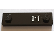 Part No: 92593pb033  Name: Plate, Modified 1 x 4 with 2 Studs with White '911' Pattern on Right (Sticker) - Set 71016