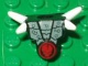 Part No: 93056pb03  Name: Minifig, Armor Breastplate with Shoulder Spikes White and Ninjago Cracked Red Skull Pattern