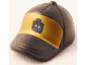 Part No: 93219pb02  Name: Minifig, Headgear Cap - Short Curved Bill with Seams and Button on Top and Black Minifig Head on Gold Pattern