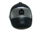 Part No: 93219pb04  Name: Minifig, Headgear Cap - Short Curved Bill with Seams and Button on Top and Black Minifig Head on Metallic Silver Pattern