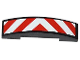 Part No: 93273pb025  Name: Slope, Curved 4 x 1 Double No Studs with Red and White Danger Stripes Thick Pattern (Sticker)