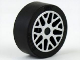 Part No: 93595pb02c01  Name: Wheel 11mm D. x 6mm with 8 'Y' Spokes with Silver Outline Pattern with Black Tire 14mm D. x 6mm Solid Smooth (93595pb02 / 50945)