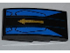 Part No: 93606pb005  Name: Slope, Curved 4 x 2 No Studs with Gold Arrow on Black and Blue Background Pattern (Sticker) - Set 9442