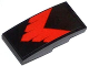 Part No: 93606pb018  Name: Slope, Curved 4 x 2 No Studs with Red V-Shaped Stripe Pattern (Sticker) - Set 76011