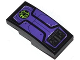 Part No: 93606pb021  Name: Slope, Curved 4 x 2 No Studs with Lime Bat Head in Black Circle, Dark Purple Panels and Bolts Pattern (Sticker) - Set 70128
