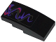 Part No: 93606pb026  Name: Slope, Curved 4 x 2 No Studs with Dark Purple, Pearl Dark Gray and Red Swirls Pattern (Sticker) - Set 70728