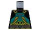 Part No: 973pb0021  Name: Torso Aquazone Aquaraider Dark Turquoise and Yellow Crossed Belts Pattern