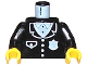 Part No: 973pb0091c01  Name: Torso Police Suit with White Badge and Pocket Pattern / Black Arms / Yellow Hands