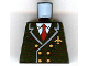 Part No: 973pb0109  Name: Torso Airplane Pilot, Suit Double Breasted, Red Tie, Gold Buttons and Logo Pin Pattern
