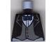 Part No: 973pb0225  Name: Torso Batman Suit Jacket with Gray Vest, Dark Blue Bow Tie Pattern