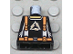 Part No: 973pb0357  Name: Torso Alpha Team Arctic Logo, Black Shirt and Orange Straps Pattern