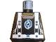 Part No: 973pb0360  Name: Torso Alpha Team Arctic Logo, Black Shirt and Blue Straps Pattern