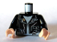 Part No: 973pb0467c01  Name: Torso Leather Jacket with Zippers and 'Mutt' on Chest Pattern / Black Arms / Light Flesh Hands