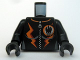 Part No: 973pb0565c01  Name: Torso Agents Villain Female with Orange Stripes Pattern / Black Arms / Black Hands