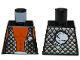 Part No: 973pb0579  Name: Torso Alien with Orange Skin and Black Open Vest with Alien Head Pattern