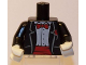 Part No: 973pb0665c01  Name: Torso Jacket Formal with White Shirt and Red Bow Tie and Cummerbund Pattern / Black Arms / White Hands