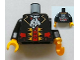 Part No: 973pb1123c01  Name: Torso Pirate Captain with White Ascot Front, 2012 The LEGO Store Nashville, TN Back Pattern / Black Arms / Yellow Hand Right / Pearl Gold Hook Left