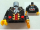 Part No: 973pb1133c01  Name: Torso Pirate Captain with White Ascot Front, 2011 The LEGO Store Pleasanton, CA Back Pattern / Black Arms / Yellow Hand Right / Pearl Gold Hook Left