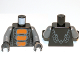 Part No: 973pb1195c01  Name: Torso Ninjago Snake with Orange Scales Pattern (Bytar) / Dark Bluish Gray Arms / Black Hands