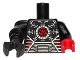 Part No: 973pb1239c01  Name: Torso Robot with Red Oscilloscope Pattern / Black Arm and Red Hand Left / Black Mech Arm and PDG Claw Right