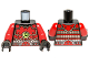 Part No: 973pb1372c01  Name: Torso Ninjago Red Armor and Silver Belt with Lime Swirl Medallion Pattern / Red Arms / Black Hands