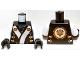 Part No: 973pb1387c01  Name: Torso Ninjago Robe with White and Gold Sash Pattern / White Arms / Black Hands