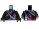 Part No: 973pb1576c01  Name: Torso Ninjago Robe with Purple and Black Sash, Mechanical Parts and Silver Saw Blade Emblem Pattern / Black Arms / Black Hands
