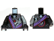 Part No: 973pb1578c01  Name: Torso Ninjago Robe with Purple Sash and Exposed Mechanical Parts Pattern / Flat Silver Arm Left / Black Arm Right / Black Hands