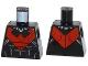 Part No: 973pb1645  Name: Torso Batman Nightwing Red V Logo and Muscles Pattern