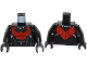 Part No: 973pb1645c01  Name: Torso Batman Nightwing Red V Logo and Muscles Pattern / Black Arms / Black Hands