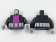 Part No: 973pb2839c01  Name: Torso Purple Vertical Stripe and Light Bluish Gray Belt Pattern / Black Arms / Light Bluish Gray Hands